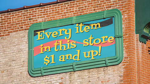 $1-and-Up retail advertising sign