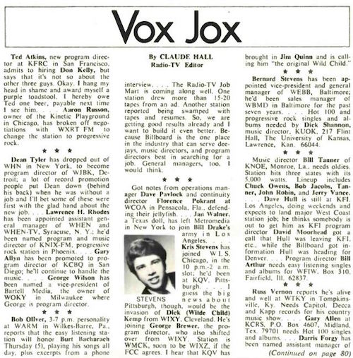 Claude Hall Vox Jox Billboard