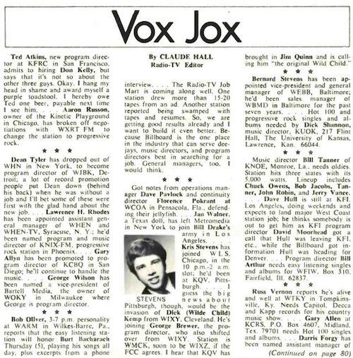 Claude Hall Vox Jox Billboard