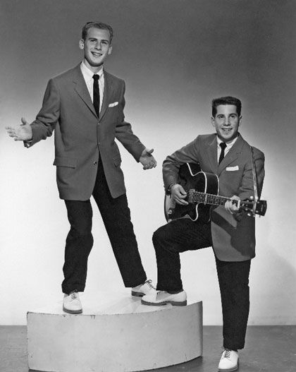 """""""Tom and Jerry"""" (Simon & Garfunkel"""") publicity photo at the age of 15."""